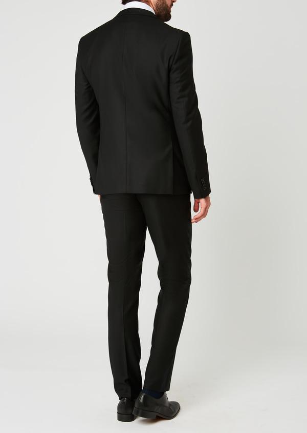 Costume 2 pièces Slim en laine façonnée unie noire - Father and Sons 26355