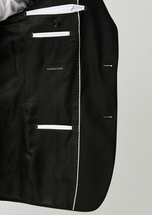Costume 2 pièces Slim en laine façonnée unie noire - Father and Sons 26358