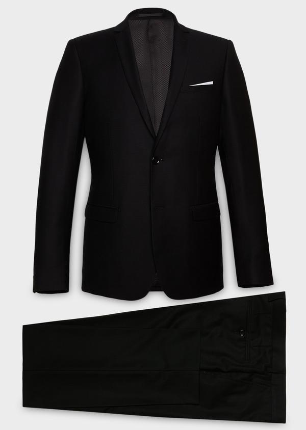 Costume 2 pièces Slim en laine façonnée unie noire - Father and Sons 26352