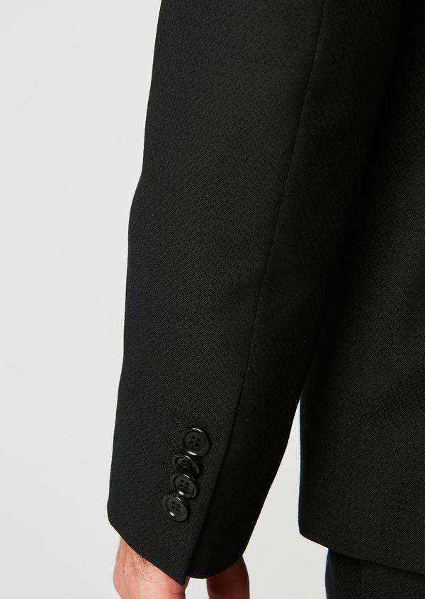 Costume 2 pièces Slim en laine façonnée unie noire - Father and Sons 26357