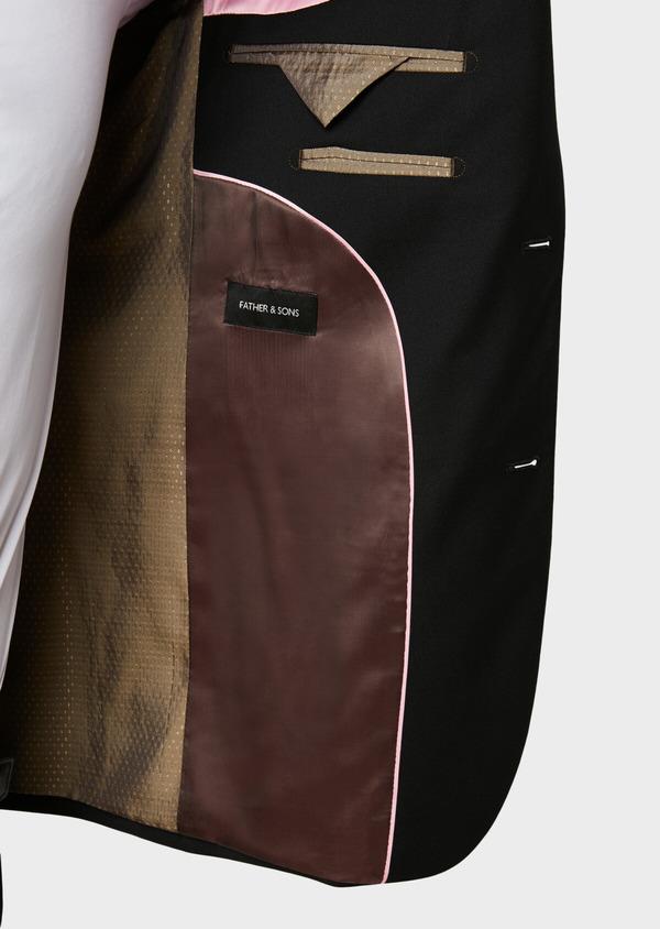 Costume 2 pièces Slim en laine façonnée unie noire - Father and Sons 31477