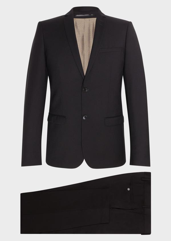 Costume 2 pièces Slim en laine façonnée unie noire - Father and Sons 31471