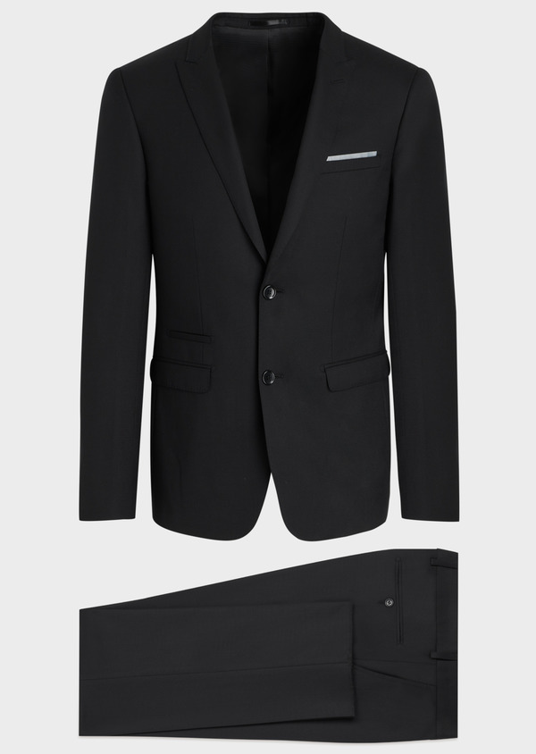 Costume 2 pièces Slim en laine mélangée stretch unie noire - Father and Sons 35081