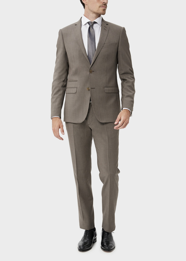 Costume 2 pièces Slim en laine stretch naturelle unie taupe - Father and Sons 35055