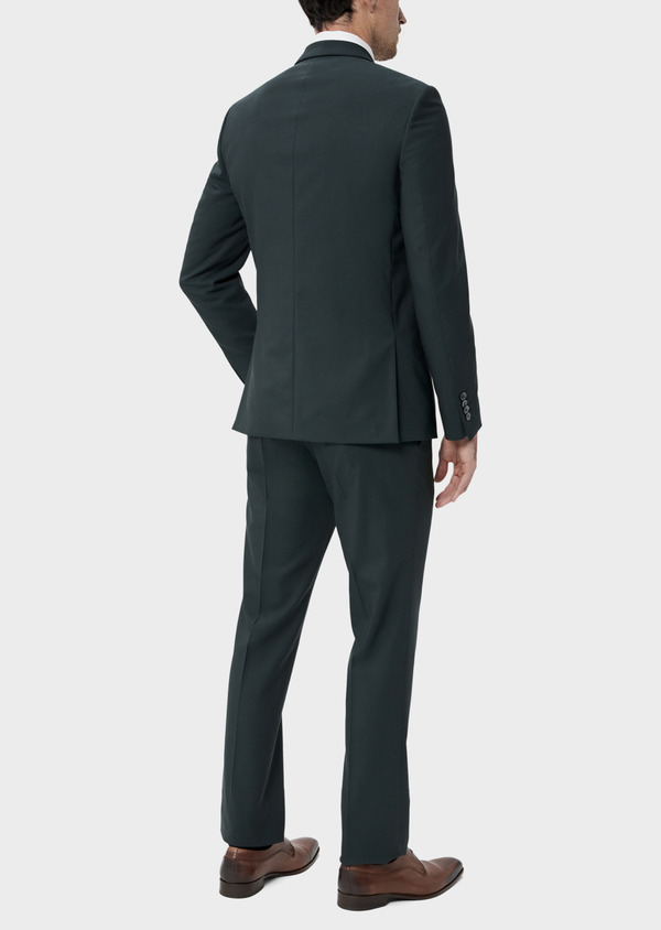 Costume 2 pièces Slim en laine stretch naturelle unie verte - Father and Sons 35005