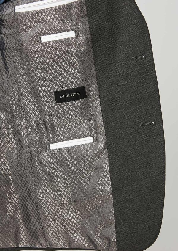 Costume de voyage 2 pièces Slim en laine unie grise - Father and Sons 28336
