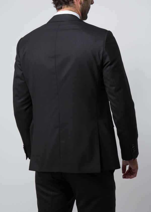 Costume 2 pièces Regular en laine façonnée unie noire - Father and Sons 28936