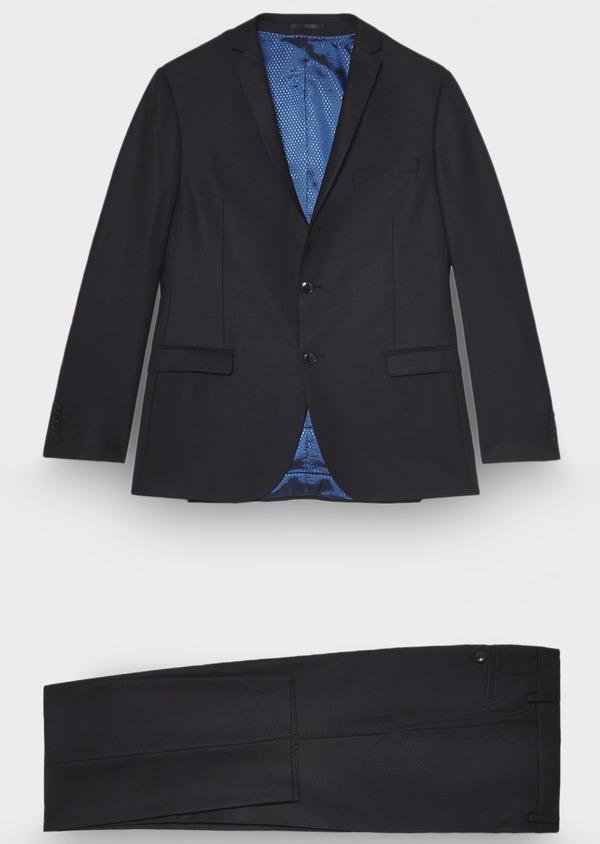Costume 2 pièces Regular en laine façonnée unie noire - Father and Sons 28934