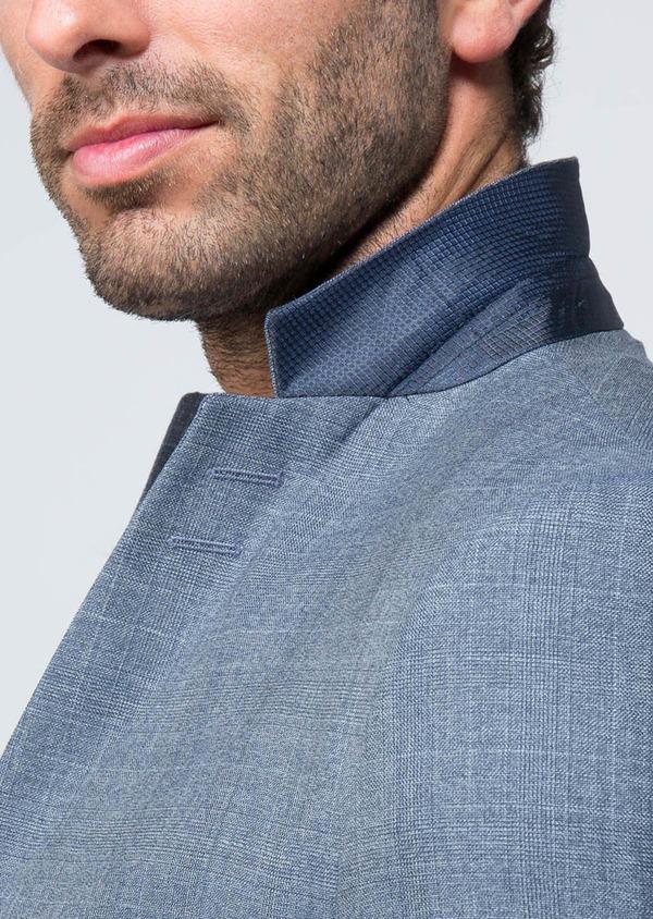 Costume 2 pièces Slim en laine façonnée bleu chambray Prince de Galles - Father and Sons 28905