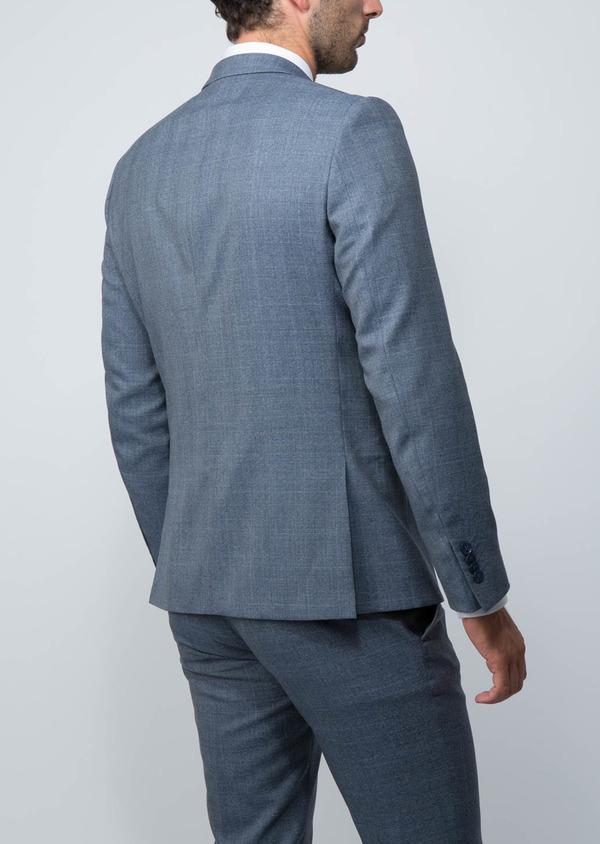 Costume 2 pièces Slim en laine façonnée bleu chambray Prince de Galles - Father and Sons 28904
