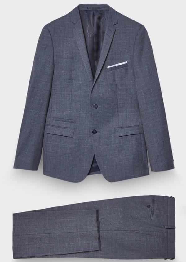 Costume 2 pièces Slim en laine façonnée bleu chambray Prince de Galles - Father and Sons 28902