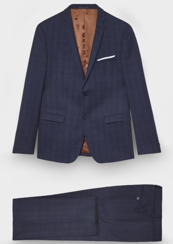 Costume 2 pièces Slim en laine mélangée bleu indigo Prince de Galles - Father and Sons 28982