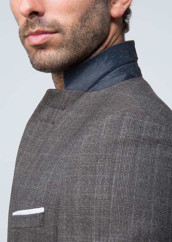 Costume 2 pièces Slim en laine façonnée marron Prince de Galles - Father and Sons 29001