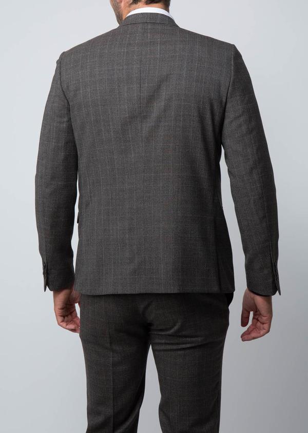 Costume 2 pièces Slim en laine façonnée marron Prince de Galles - Father and Sons 29000