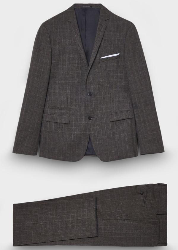 Costume 2 pièces Slim en laine façonnée marron Prince de Galles - Father and Sons 28998