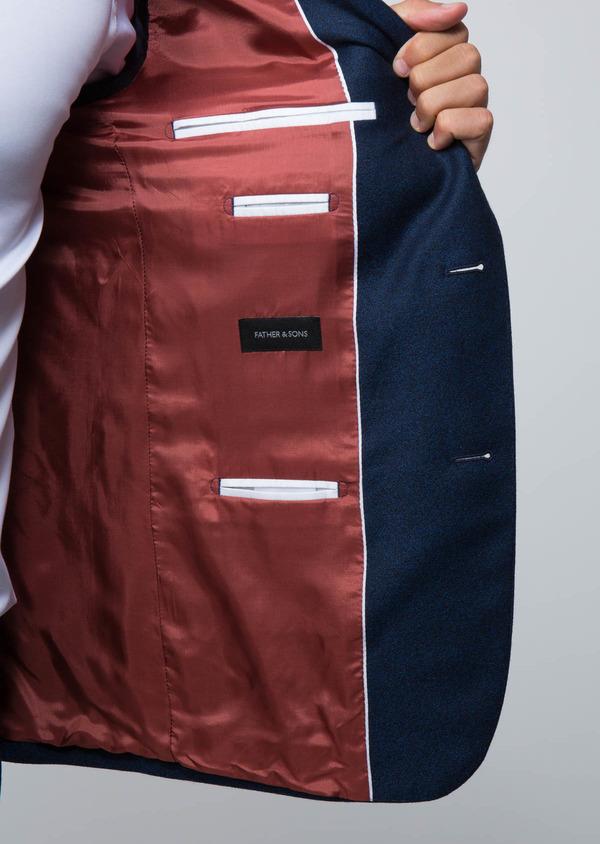 Costume 2 pièces Slim en laine unie bleu cobalt - Father and Sons 28962