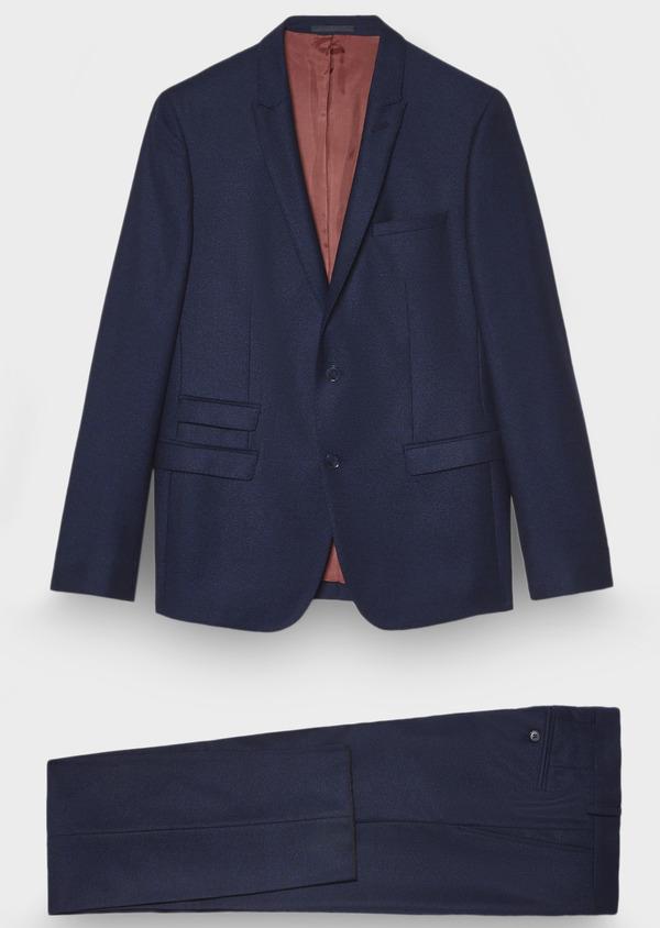 Costume 2 pièces Slim en laine unie bleu cobalt - Father and Sons 28958