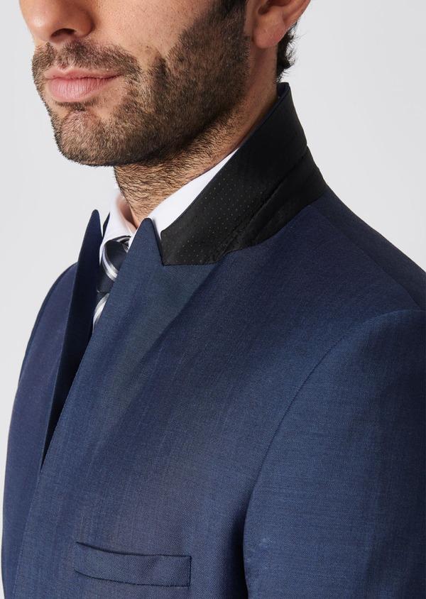 Costume 2 pièces Slim en twill de laine unie bleu - Father and Sons 29089