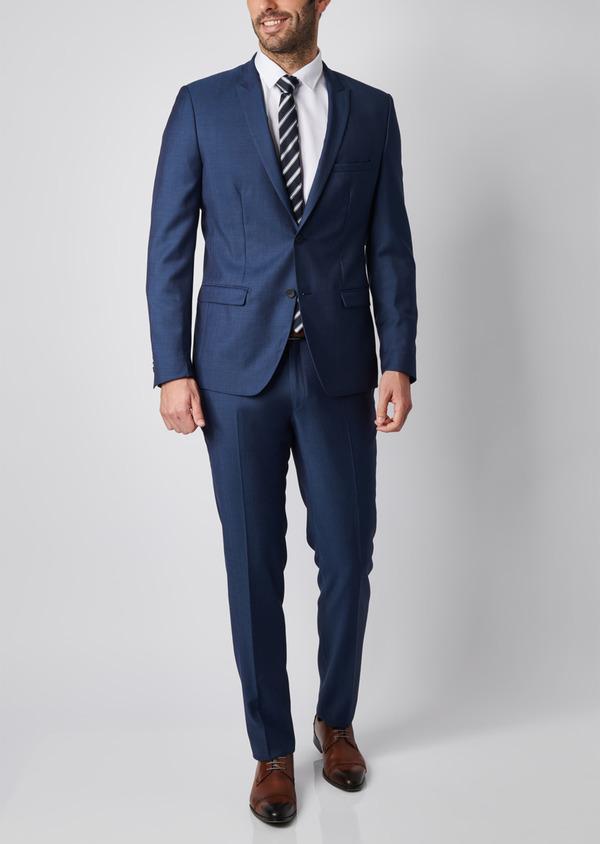 Costume 2 pièces Slim en twill de laine unie bleu - Father and Sons 29087