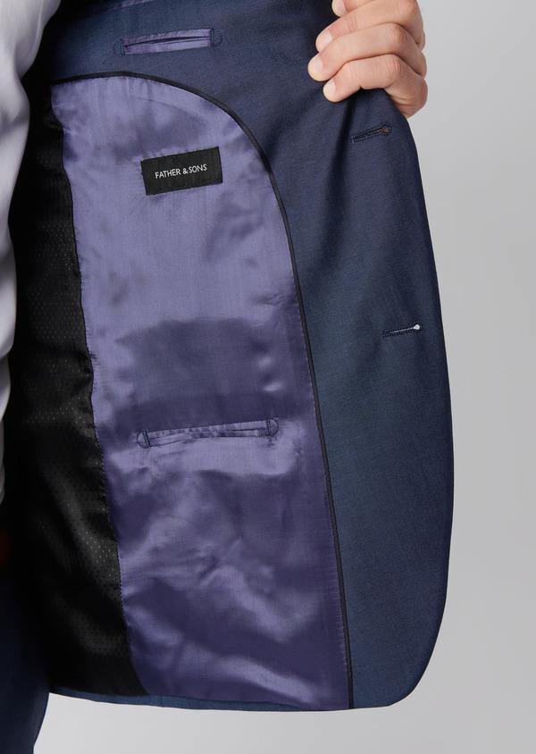 Costume 2 pièces Slim en twill de laine unie bleu - Father and Sons 29090