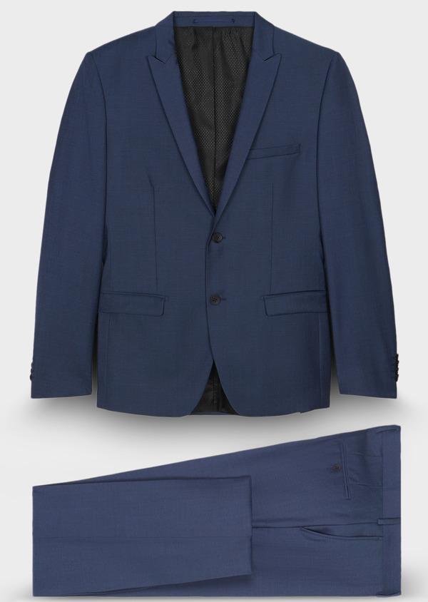 Costume 2 pièces Slim en twill de laine unie bleu - Father and Sons 29086
