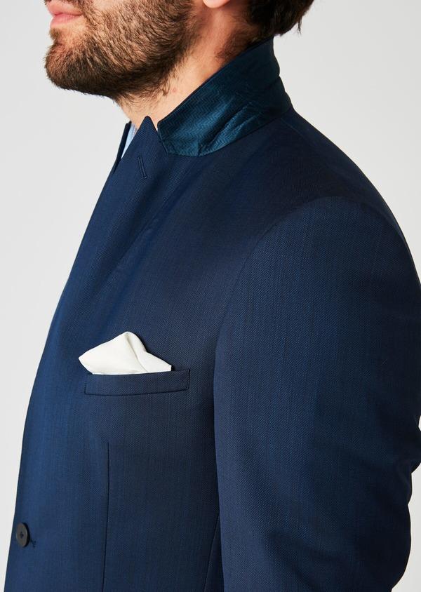 Costume 2 pièces Slim en laine nattée unie bleu indigo - Father and Sons 20127