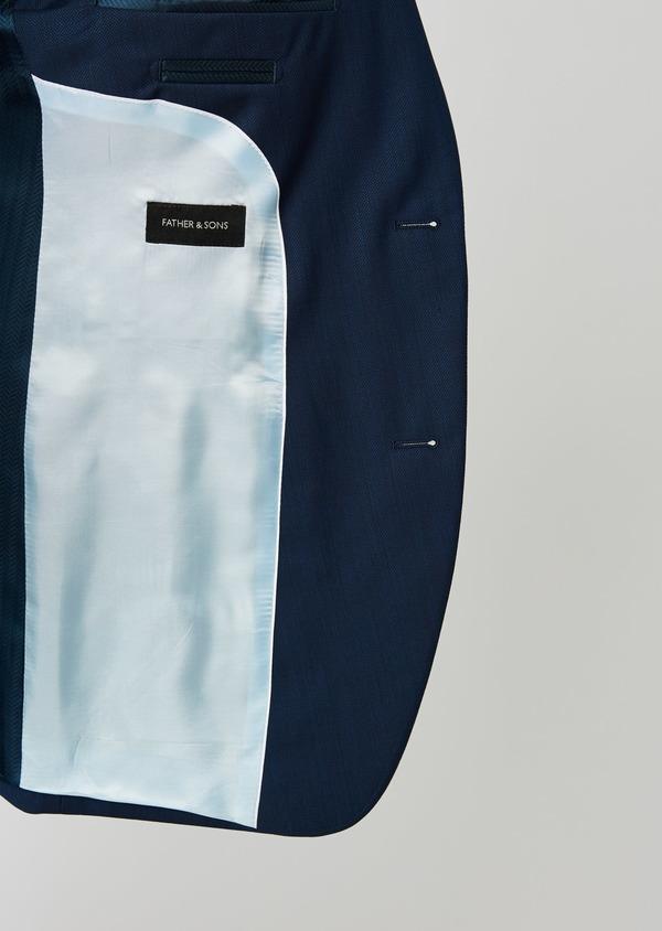 Costume 2 pièces Slim en laine nattée unie bleu indigo - Father and Sons 20128