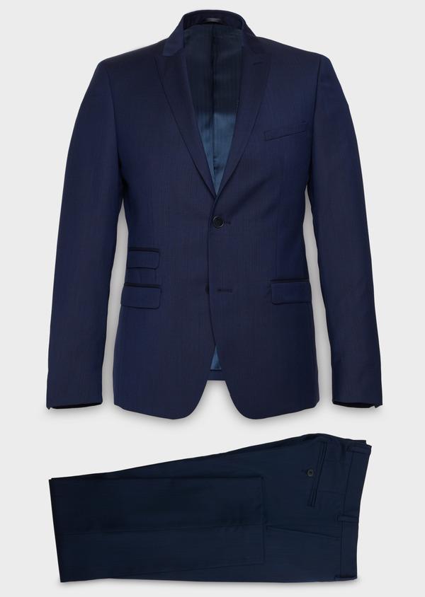 Costume 2 pièces Slim en laine nattée unie bleu indigo - Father and Sons 20123