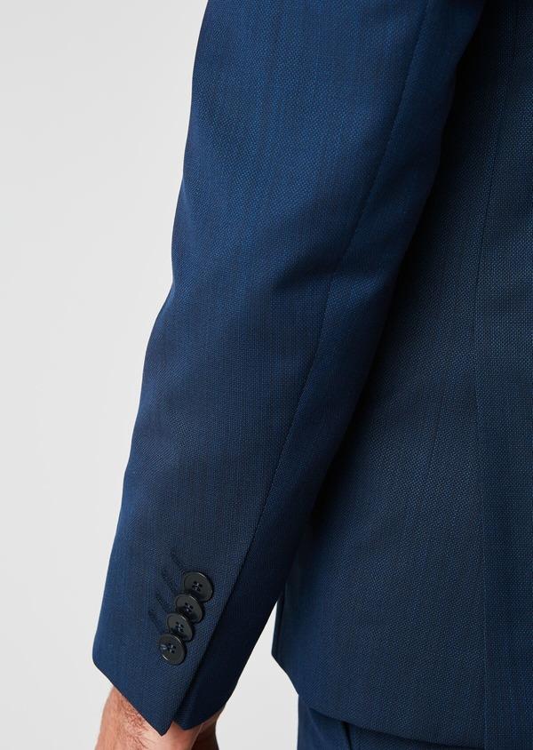 Costume 2 pièces Slim en laine nattée unie bleu indigo - Father and Sons 20129