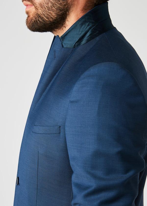Costume 2 pièces Slim en laine façonnée unie bleu indigo - Father and Sons 20157