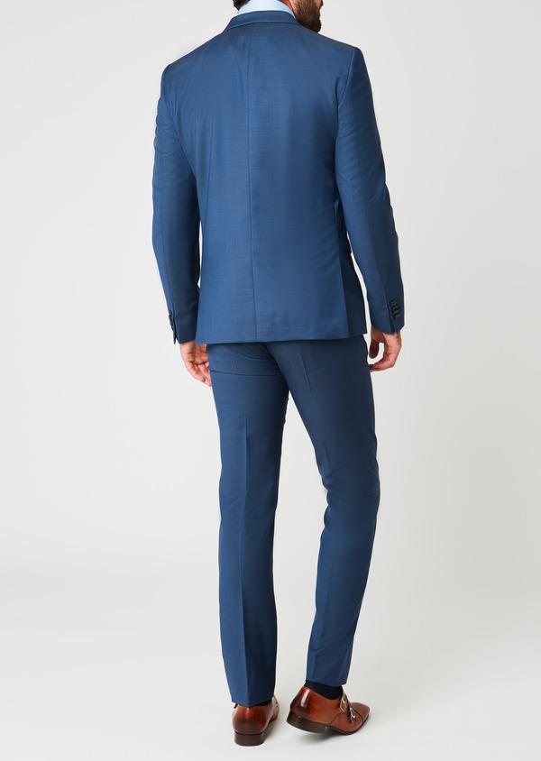 Costume 2 pièces Slim en laine façonnée unie bleu indigo - Father and Sons 20156
