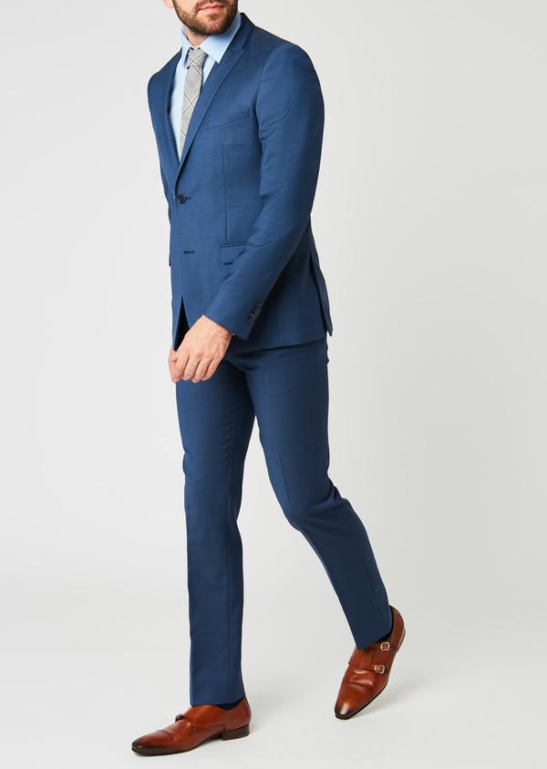 Costume 2 pièces Slim en laine façonnée unie bleu indigo - Father and Sons 20155