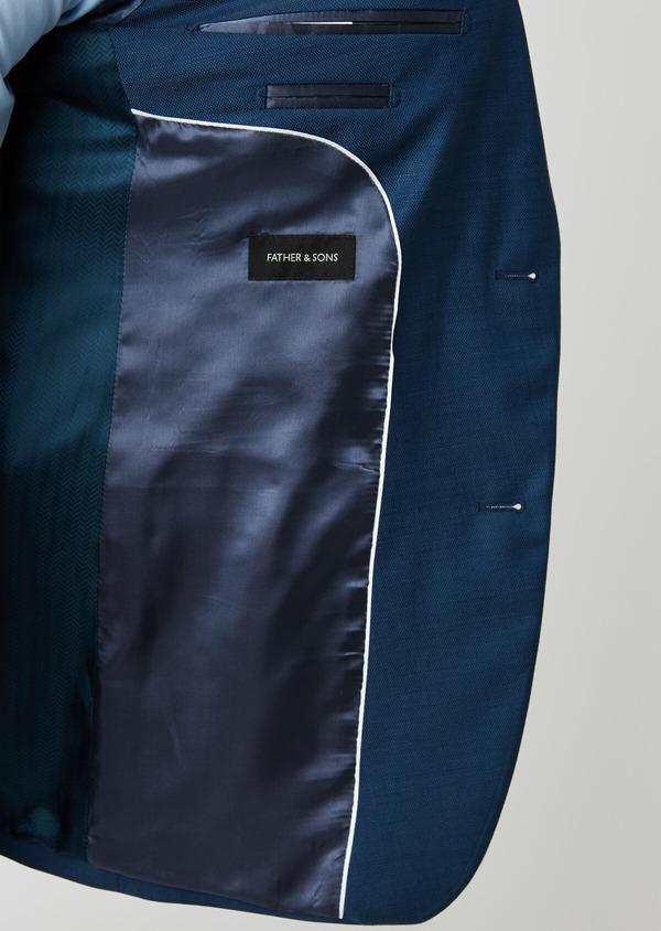 Costume 2 pièces Slim en laine façonnée unie bleu indigo - Father and Sons 20158