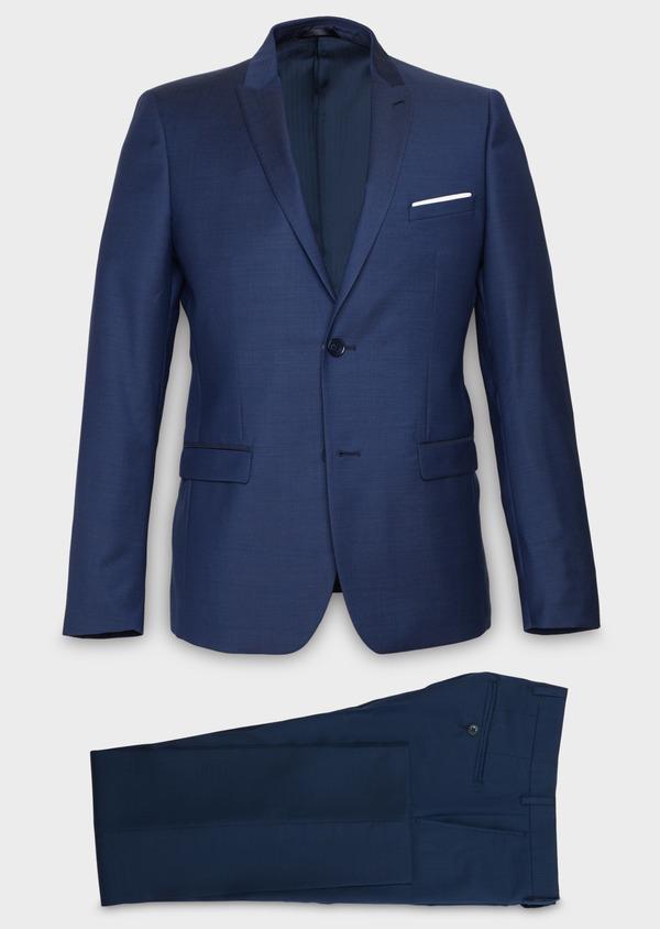Costume 2 pièces Slim en laine façonnée unie bleu indigo - Father and Sons 20153