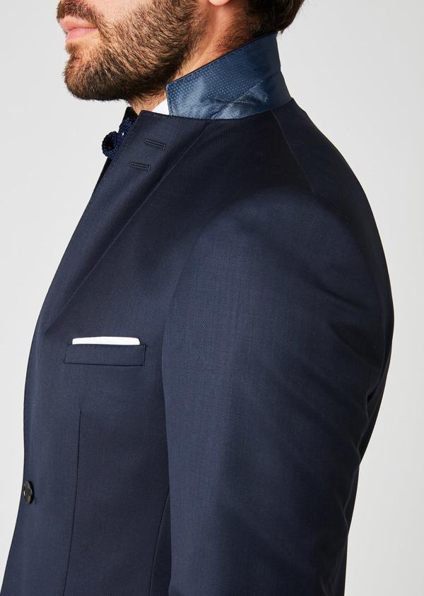 Costume 2 pièces Slim en laine faconnee unie bleu marine - Father and Sons 20137