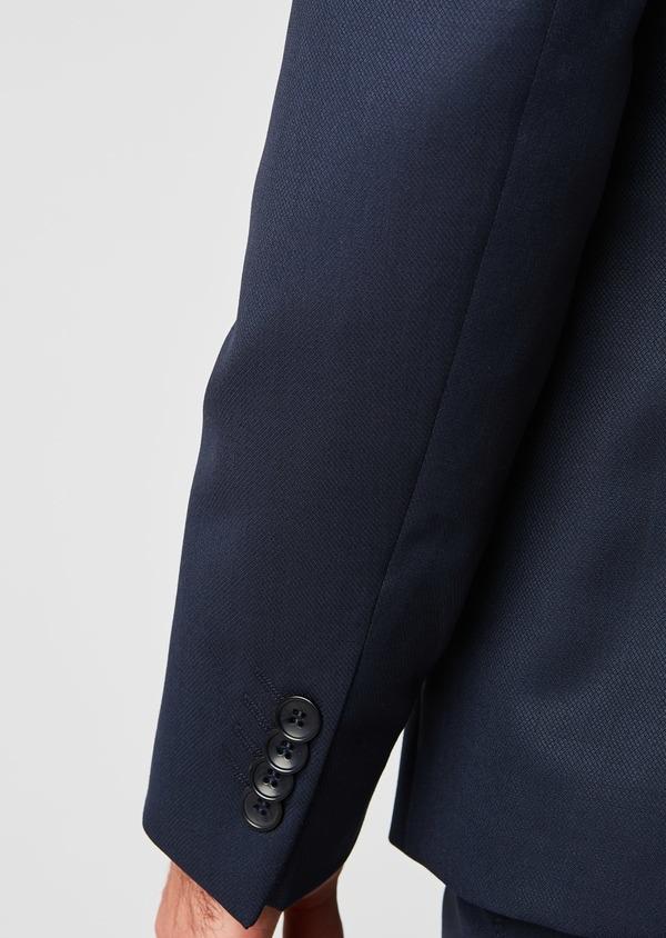 Costume 2 pièces Slim en laine faconnee unie bleu marine - Father and Sons 20139