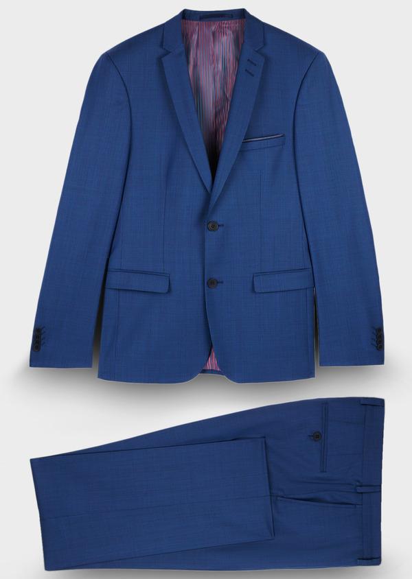 Costume 2 pièces Slim en laine mélangée unie bleue - Father and Sons 29102