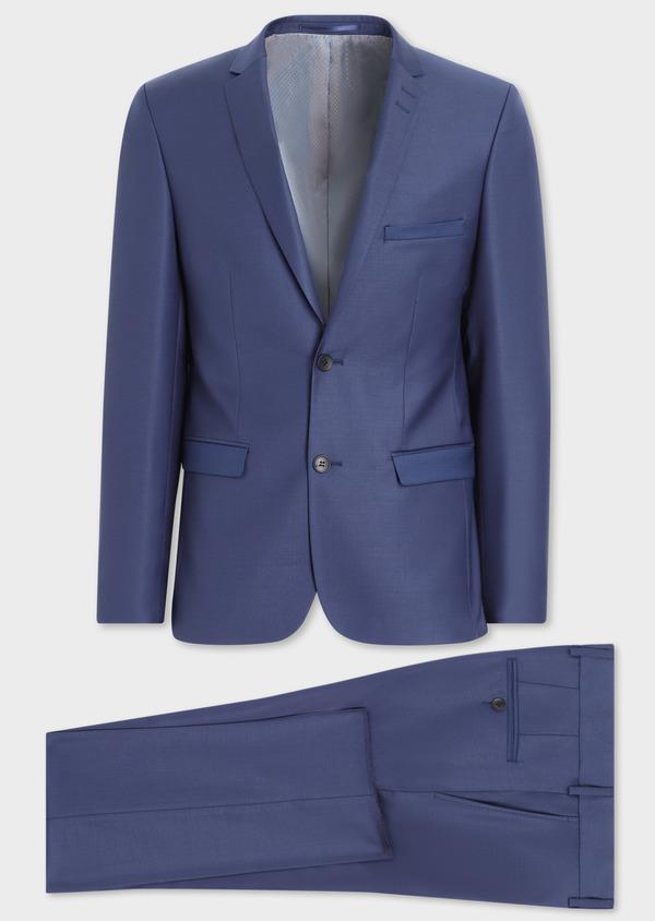 Costume 2 pièces Slim en laine unie bleu indigo - Father and Sons 35732