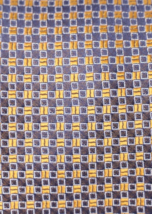 Cravate fine en soie à carreaux jaune moutarde et bleu marine - Father and Sons 35135
