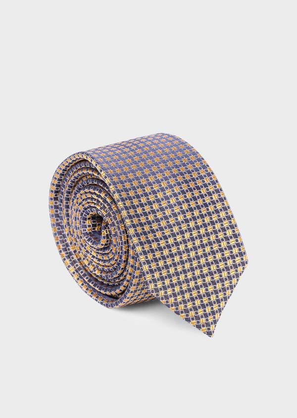 Cravate fine en soie à carreaux jaune moutarde et bleu marine - Father and Sons 35134