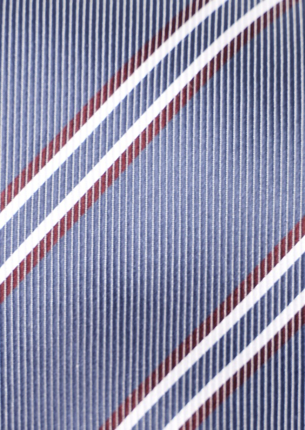 Cravate club fine en soie bleu chambray et rouge - Father and Sons 35155
