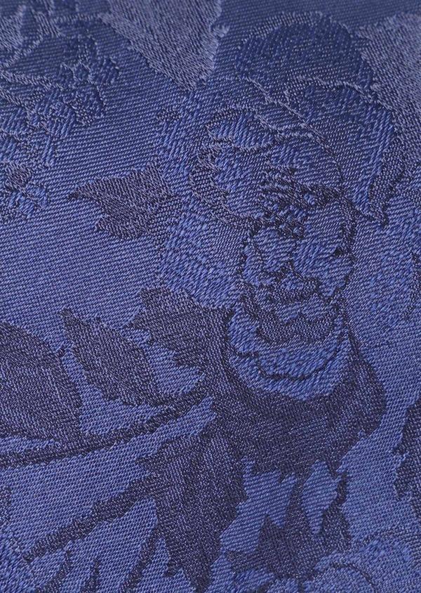 Cravate fine en soie à motif fleuri bleu - Father and Sons 35171