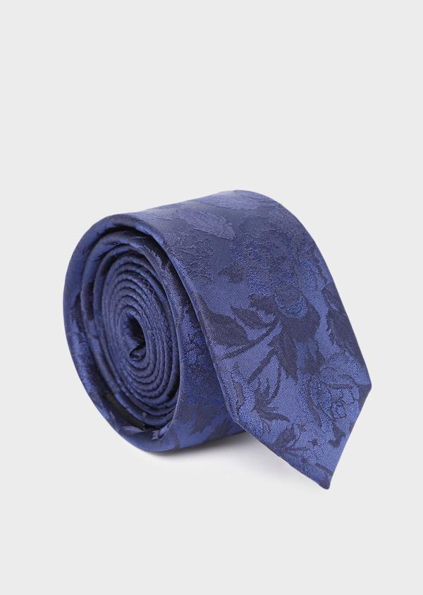 Cravate fine en soie à motif fleuri bleu - Father and Sons 35170