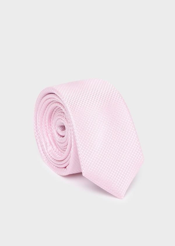 Cravate fine en soie unie rose - Father and Sons 35192