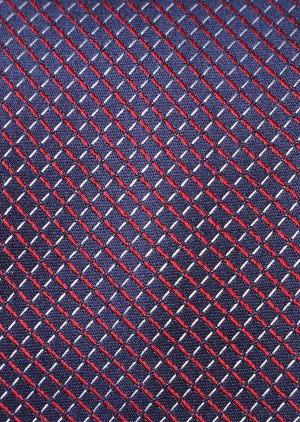 Cravate fine en soie bleue à motifs géométriques rouges - Father and Sons 35153