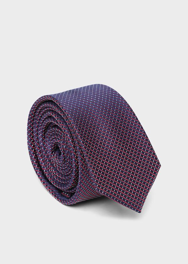 Cravate fine en soie bleue à motifs géométriques rouges - Father and Sons 35152
