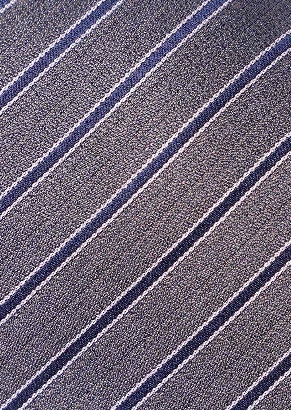 Cravate club fine en soie taupe et bleu - Father and Sons 35179