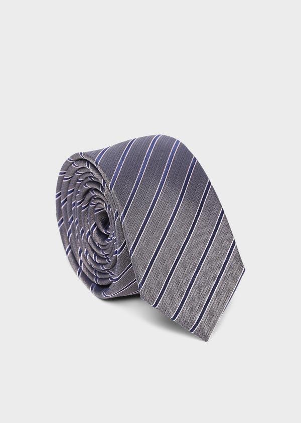 Cravate club fine en soie taupe et bleu - Father and Sons 35178