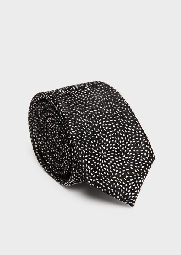 Cravate fine en soie noire à motif fantaisie rose clair - Father and Sons 26562