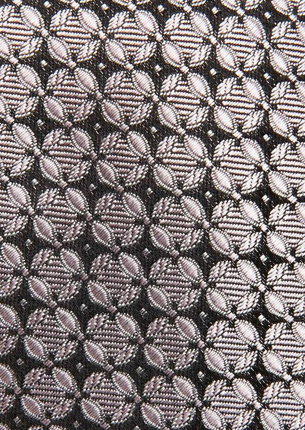 Cravate fine en soie rose à motif fantaisie noir - Father and Sons 26555